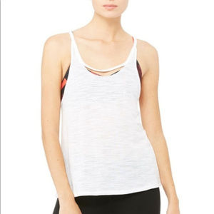 Alo Yoga White Split Tank